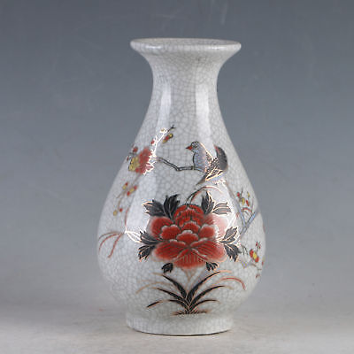 China Porcelain Hand-Painted Flowers&Birds Vase Made During The Daqing Qianlong