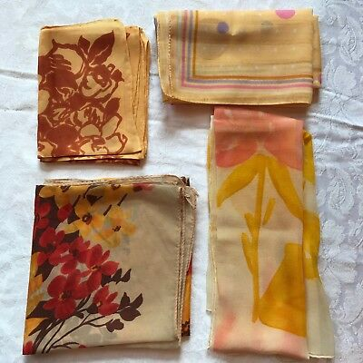 4 Vintage Scarves Orange Yellow Gold Fall Autumn Scarf Lot Copper Floral Flower