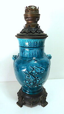 Lamp oil Oil XIX° bronze ceramic blue china DECK SEVRES Chinese Chinese