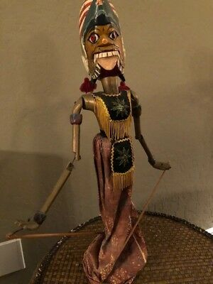 Hand Crafted Thai Wooden Puppet-Hand Painted 2 faces-on stand-very good cond