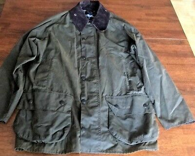 Barbour Classic Beaufort Green Waxed Cotton Jacket Men's