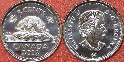 Brilliant Uncirculated 2018 Canada 5 Cents From Mint's Roll