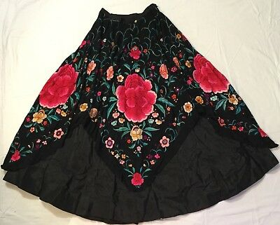 VINTAGE CHINESE SILK FLORAL EMBROIDERED PIANO SHAWL MADE INTO SKIRT or PONCHO
