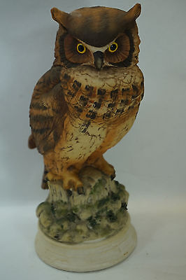VINTAGE BIRD FIGURINE GREAT HORNED OWL BISQUE PORCELAIN LIMITED EDITION 9in TALL