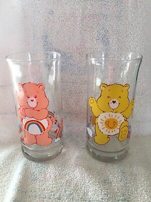 Lot Of 2 1983 Pizza Hut Care Bears Limited Edition Glasses Funshine & Cheer Bear