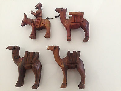 Antique Timber Carved Nativity Set - Camels & Donkey - 4 Pieces