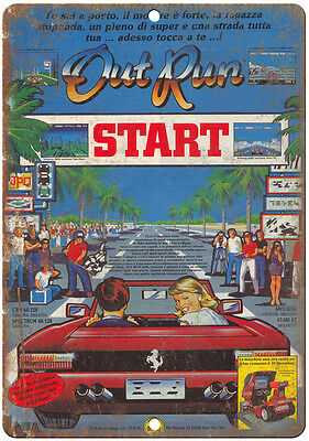 """Out Run Arcade Game Vintage Print Ad 10"""" x 7"""" Retro Look Metal Sign"""