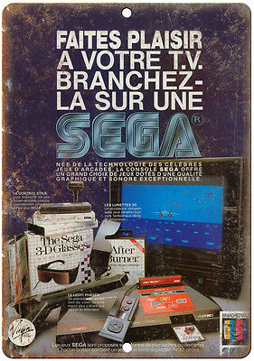 """SEGA VIdeo Game System Ad Foreign 10"""" x 7"""" Retro Look Metal Sign"""
