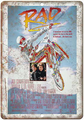 """RAD BMX Movie VHS Cover 10"""" x 7"""" Reproduction Metal Sign"""