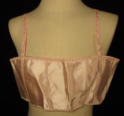 Two 1920's-30's Pink Rayon Brassieres, Ribbon Straps, Old Stock