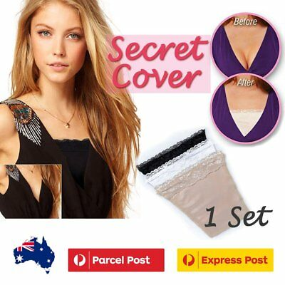 3pcs Black Beige White Clip-on Camisole Cami Secret Cleavage Cover Modesty Work