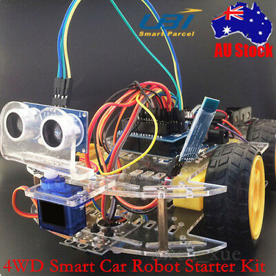 4WD Robot Car Kit UNO BLE4 IR Autonomous Avoid Line Follow L298N For Arduino