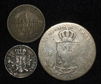 3 Silver Coins from Prussia.  1800's-1835.  No Reserve!