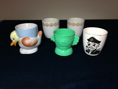 Vintage Collectable Eggcups x5 . Pirate, Duck, Plastic Hen and 2 x 1973 Bristile