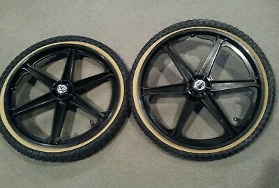 "NEW 20/"" MAG WHEELS 3 SPOKE YELLOW TIRES TUBES FOR GT DYNO HARO OR BMX BICYCLES"