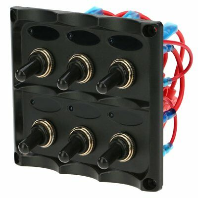OpenBox KKmoon 12V-24V Waterproof 6-Gang Toggle Switch Panel with Fuse LED Indic