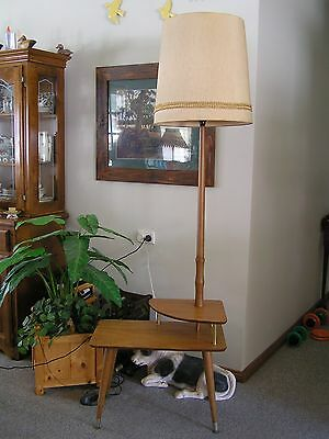 Rare Mid Century Vintage Standard Table Lamp with Two Shades