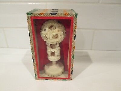 Antique Chinese Carving Puzzle Ball Stand, Possibly Resin