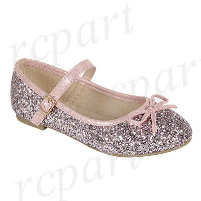 New girl's kids formal dress wedding glitter shoes bow formal holiday Pink