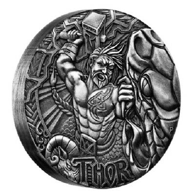 2016 $2 Tuvalu Norse Gods - Thor 2oz Silver High Relief Coin - Perth Mint