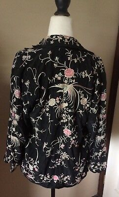 Vintage 1920s 1930s Silk Embroidered Dress Jacket Birds Roses Antique Chinese