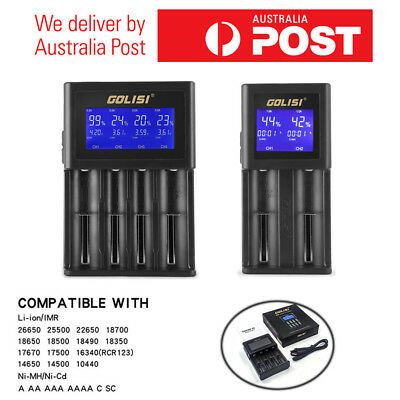 GOLISI 2-4ports Smart LCD Rechargeable Battery Charger for Li-ion 18650 AAA &AA