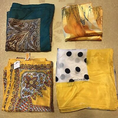 4 Scarves Square Yellow Gold Paisley Echo Silk Polka Dot Vtg Scarf Lot Belk NOS