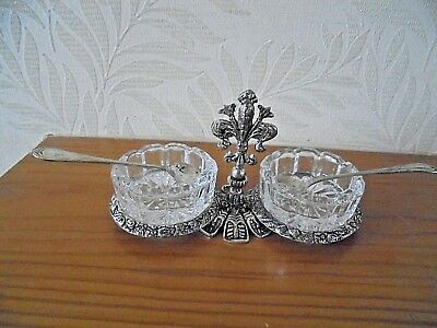 Vintage Silver Plated/Glass Open Salt Dishes