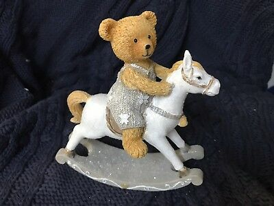 NEW Hard resin Teddy bear in grey jumpsuit on white Rocking Horse
