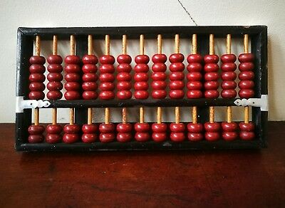 Chinese Vintage Abacus Wood Frame Beads Math Counting Calculation Education Tool