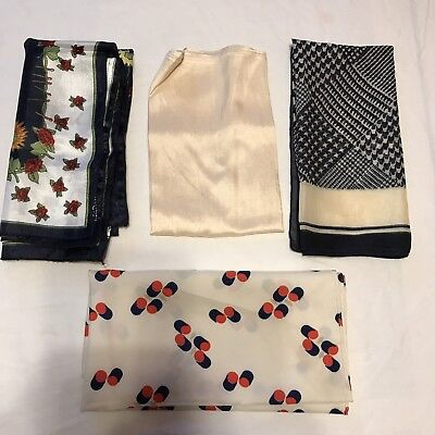 4 Scarves Square Cream Navy Red Rose Silk Houndstooth Dots Scarf Vtg Lot Ladies