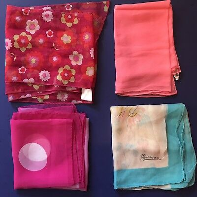 4 Vtg Scarves Pink Blue Burmel Silk Hand Rolled Polka Dot Floral Retro Scarf Lot
