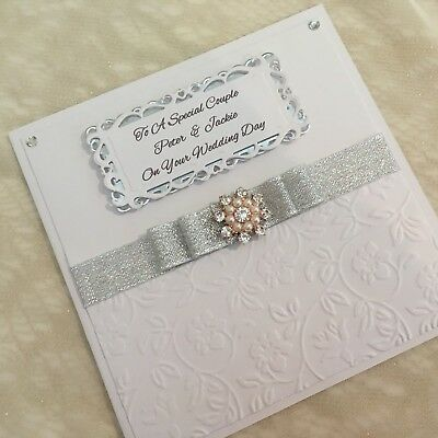 Handmade Wedding or 1st 25th 60th 70th Wedding Anniversary Card **PERSONALISED**