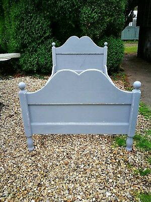 Gorgeous  French vintage painted distressed pine sleigh  bed 3ft UK  single