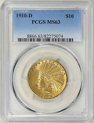 1910-D $10 Gold Indian Head  Eagle Pcgs Ms63