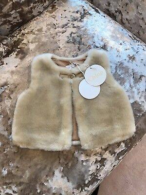 Chloe Tan/beige Fur Gillet Bnwt 18 month baby girls