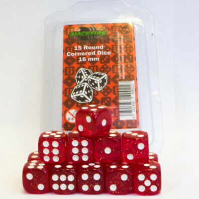 Set 15 dadi 16 mm BLACKFIRE Round Cornered Dice Red/Rossi