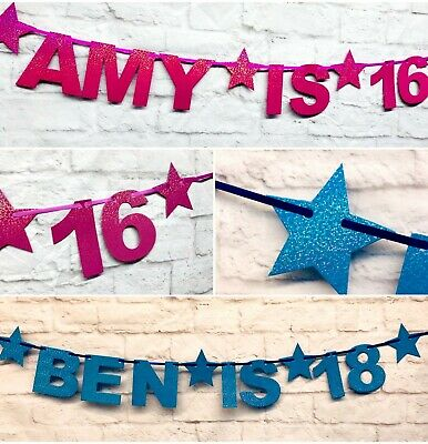PERSONALISED FIRST 1st 13th 16th 18th 21st 40th BLUE PINK Birthday Party Banner