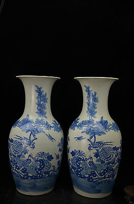 Pair larger Rare Beautiful Chinese blue and white porcelain vases