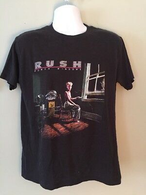Vtg 80s RUSH 1985 POWER WINDOWS Concert Tour T-Shirt Rock Tee Ched Indianapolis