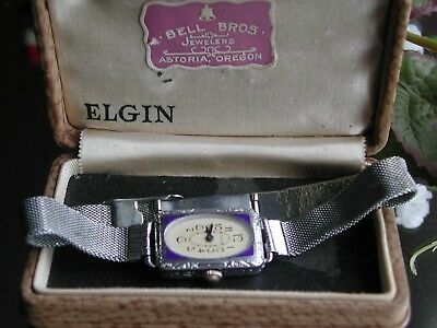 Ladies Art Deco Blue Enamel Elgin Watch ~ Original Case ~ Runs