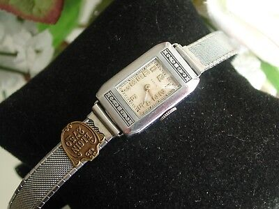 1920's Ladies Art Deco Black Enamel Elgin Watch ~ Wire Mess Band ~ SERVICED