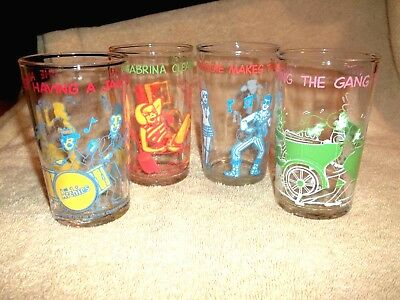 4 Vintage 1971 Welch's Jelly Juice Glasses THE ARCHIE COMICS Reggie Sabrina