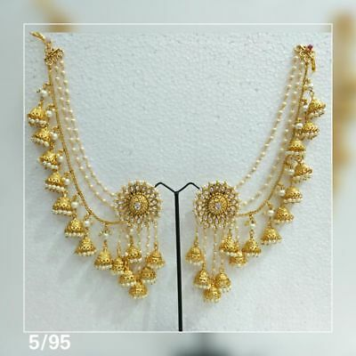 Bahubali Indian Bridal Indian Jewelry Earrings Jhumki Jhumka Sahara Kaan Chain