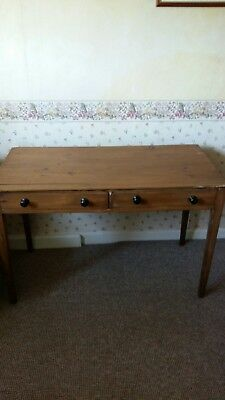 Old Pine Side Table  Narrow With Drawers