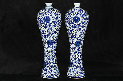 2 PC Chinese Antique Hand painted Blue and White Porcelain vase Qianlong Make