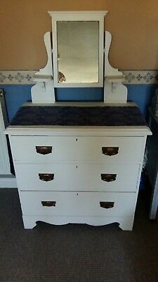 3 drawer dressing table with mirror old