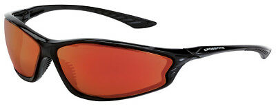 Crossfire KP6 Safety Glasses with Shiny Black Frame and Red Mirror Lens