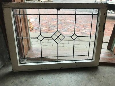 SG 1960 antique beveled and leaded glass transom window 21.5 x 30.25