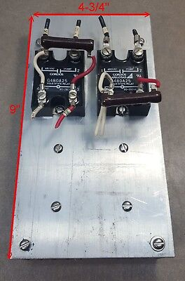 Lot of 2 Crydom G480A25 Solid State Relay 480VAC, 25A & Aluminum Heat Sink